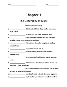 Pearson My World: We Are Texas Grade 4 Chapter 1 Quizzes & Vocab