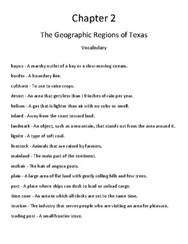 Pearson My World: We Are Texas Grade 4 Chapter 2 Quizzes & Vocab