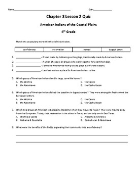 Pearson My World: We Are Texas Grade 4 Chapter 3 Quizzes & Vocab