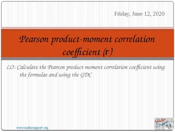 Pearson Product-moment correlation coefficient