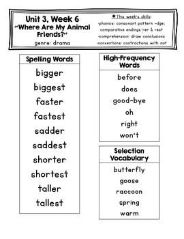 Pearson Reading Street First Grade Unit 3 Spelling & Vocabulary Lists
