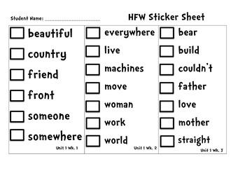 Pearson Reading Street HFW Sticker Sheet
