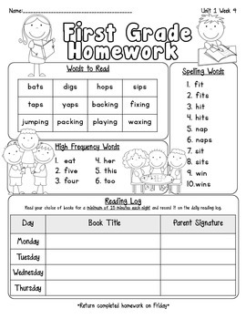 Pearson Reading Street Homework Cover Sheets Unit 1