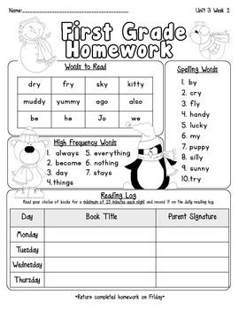 Pearson Reading Street Homework Cover Sheets Unit 3