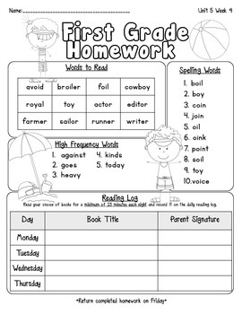 Pearson Reading Street Homework Cover Sheets Unit 5
