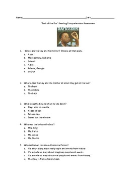 Pearson Ready Gen 2.0 Reading Back of the Bus Grade 3 Mini Assessment