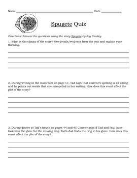 """Pearson's GHGR """"Spugete"""" Quiz *Plainfield 202 & CC Aligned*"""