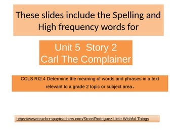 "2nd grade   story 5. 2 ""Carl the Complainer"" Words"