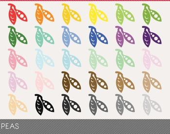 Peas Digital Clipart, Peas Graphics, Peas PNG, Rainbow Pea