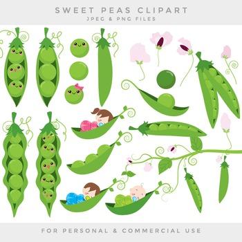 Peas in a pod clip art sweet peas clipart baby flowers sweetpeas digital