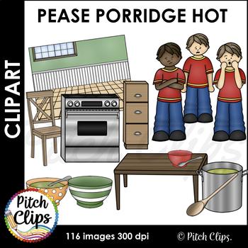 Pease Porridge Clipart (Clip Art) - Commercial Use   (Bowls, Spoons, Soup)