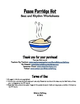 Pease Porridge Hot Beat/Rhythm Worksheets (Quarter Rest)