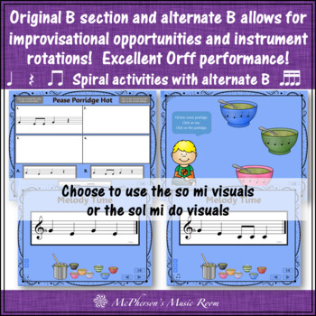 Elementary Music Lesson ~ Pease Porridge Hot: Orff, Rhythm, Melody & Instruments