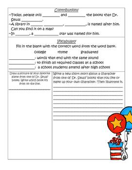 PebbleGo ~ Dr. Seuss Research Graphic Organizer
