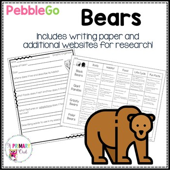 PebbleGo Research Writing Project: Bears