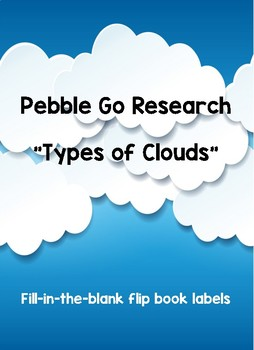 "Pebble Go ""Types of Clouds"" Flipbook Labels"