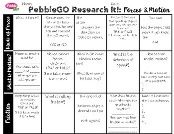 PebbleGO Research It: Forces & Motion
