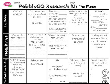 PebbleGO Research It: The Moon, Moon Phases, The First Moon Landing