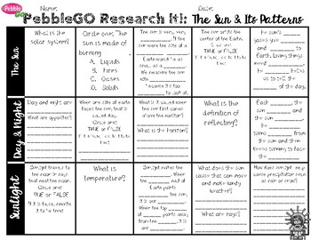 PebbleGO Research It: The Sun & Its Patterns, Day & Night, Sunlight