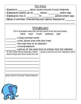 PebbleGo ~ African Elephant Research Graphic Organizer