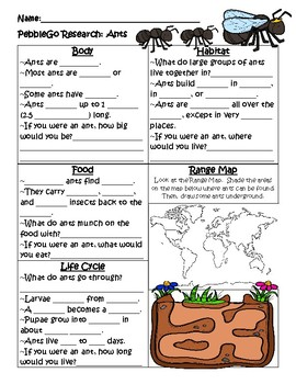 PebbleGo ~ Ants Research Graphic Organizer