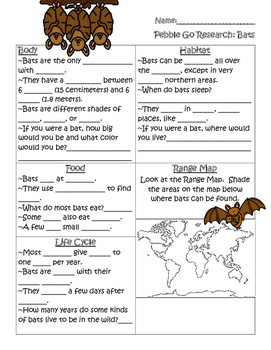 PebbleGo ~ Bats Research Graphic Organizer