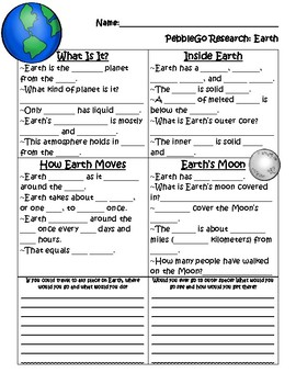PebbleGo ~ Earth Research Graphic Organizer