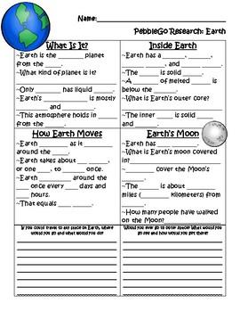 PebbleGo ~ Earth Research Graphic Organizer