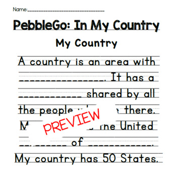PebbleGo- In My Country Fill in the Blank