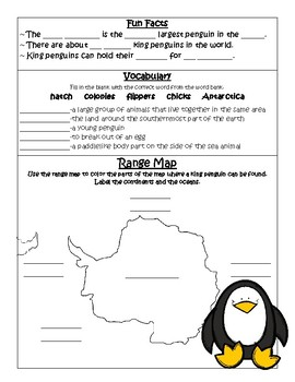 PebbleGo ~ King Penguins Research Graphic Organizer