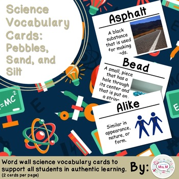 Pebbles, Sand, and Silt Science Vocabulary Cards (FOSS) Large