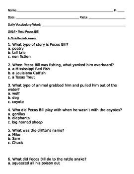 Pecos Bill, Steven Kellogg Test