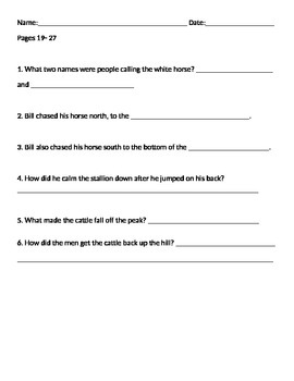 Pecos Bill Story Questions - 3 Pages