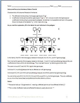Pedigree Genetics: Advanced Pedigree Tutorial and Question Packet