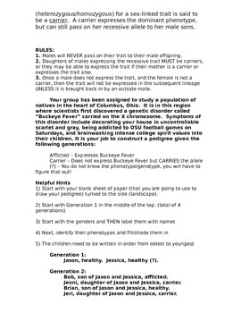 Pedigree Practice Activity with Buckeye Fever