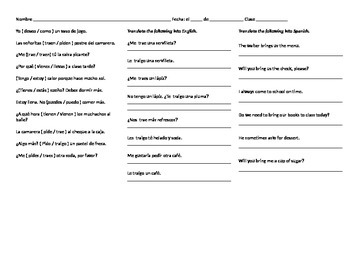 Spanish Conjugation Practice: Pedir, Venir, Traer Worksheet