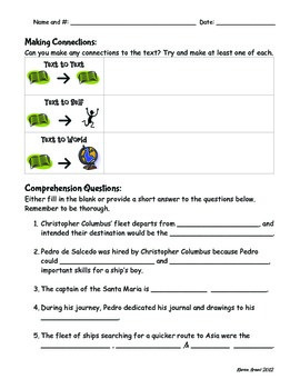 Pedro's Journal Comprehension Packet
