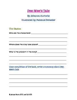 PeeWee's Tale by Johanna Hurwitz Comprehension and Study Guide
