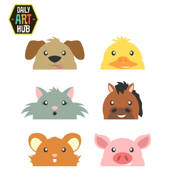 Peek A Boo Animals Clip Art - Great for Art Class Projects!