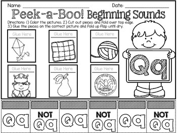 Peek-a-Boo! Beginning Sounds Flip Worksheets