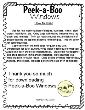 Peek-a-Boo Windows
