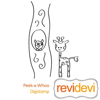 Peek-a-whoo (digital stamp, coloring image) S034, giraffe and owl