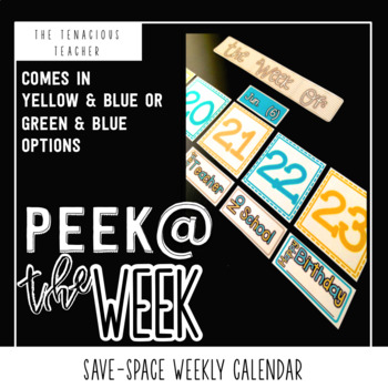 Peek at our Week: Weekly Calendar Display in Teal and Yellow