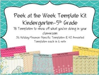 Peek at the Week Templates (Kindergarten-5th Grade)