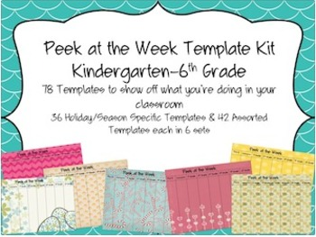 Peek at the Week Templates (Kindergarten-6th Grade)