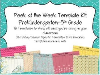 Peek at the Week Templates (PreKindergarten-5th Grade)