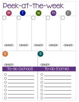Peek at the Week Weekly Overview Planner