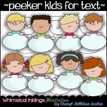 Peeker Kids for Text Clipart Collection