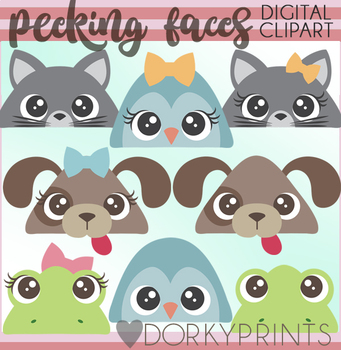 Peeking Animal Faces Clipart
