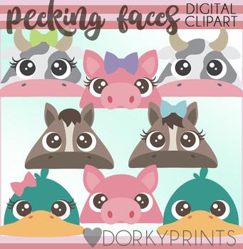 Peeking Farm Animal Faces Clipart